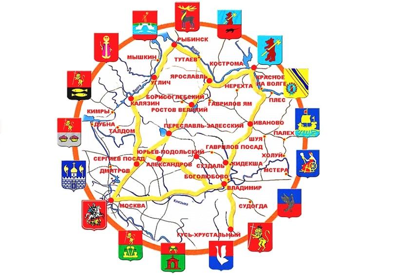 Маршрут Золотое кольцо России на машине и на автобусе